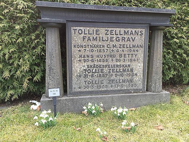 Det växer snödroppar på Tollies grav